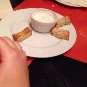Le Picotin - Toulouse, France. Amuse bouche, petit pains grillés avec fromage blanc/chèvre/ciboulette/échalote (j'ai oublié le nom)
