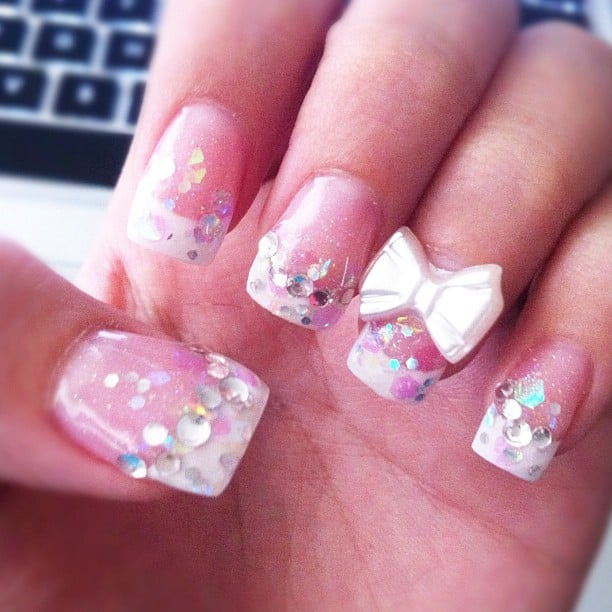 Pink Glitter Tip Acrylic Nails Acrylic Nails Glitter Pink
