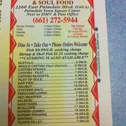 Dd s famous fish fry soul food closed southern for Soul fish menu