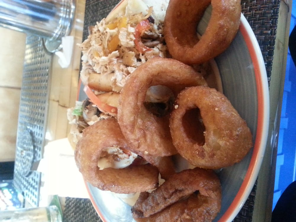 Chicken Cheese Steak with Onion rings....nothing but the truth the ...