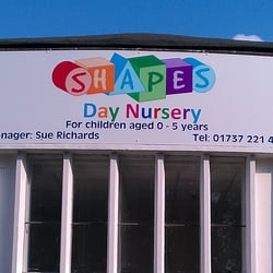 Shapes Day Nursery main entrance sign