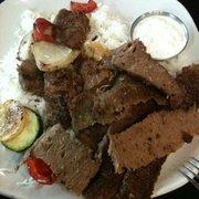 Pita Place - Bixby, OK, États-Unis. Combo platter with gyro meat, shish kabob, and rice.