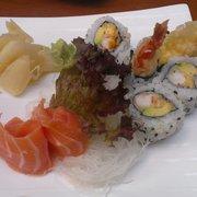 Tiger roll, plus salmon sashimi