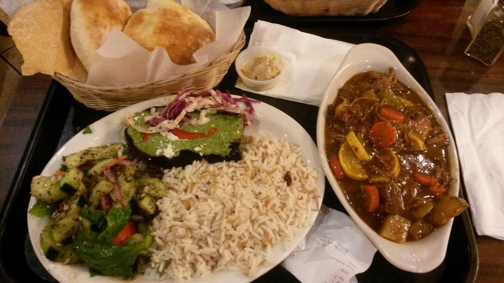 Beef stew cucumber salad eggplant under green sauce for Aladdin mediterranean cuisine houston tx