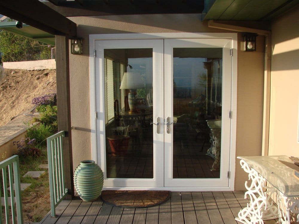 French door outswing with brushed nickel hardware yelp for Outswing french doors