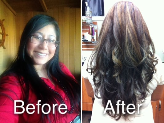 ... to brown base with partial carmel highlights and long layers. | Yelp