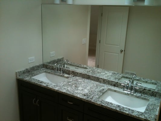 Finished Master Bath Chocolate Double Vanity With Undermount Sink