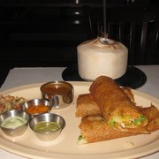 The Chennai Club - Spring veggie dosa with fresh young coconut - San Mateo, CA, United States