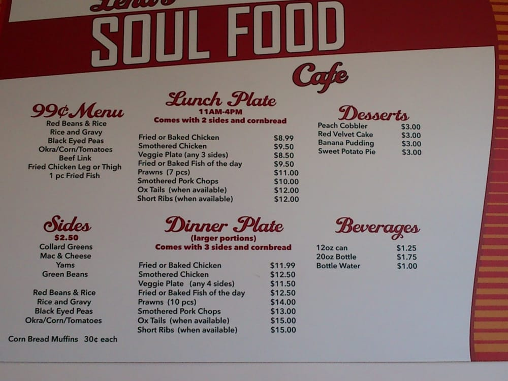 Southern Soul Cafe Menu