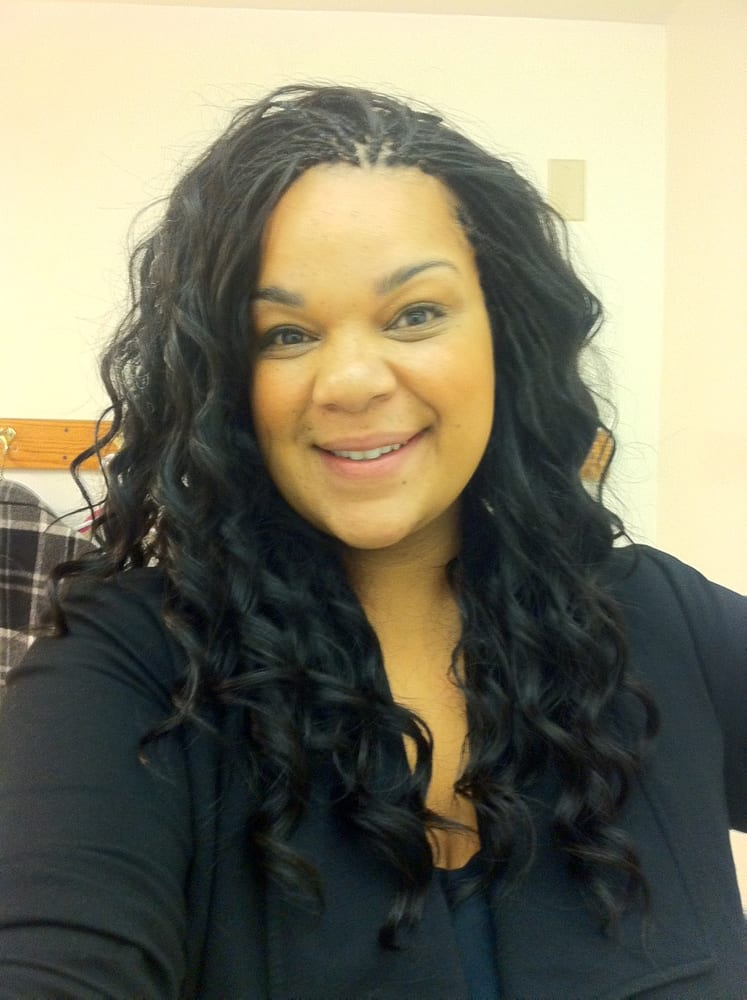 Tree braids with sew in weave in the middle Yelp - Bob Hairstyles Sew In