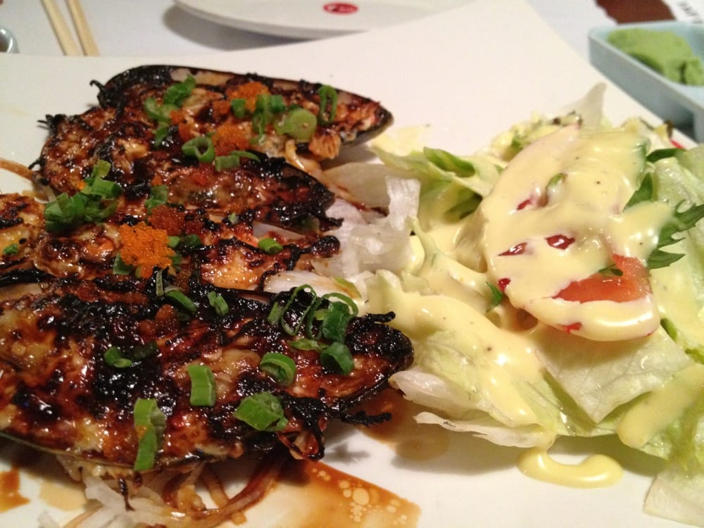Baked mussels in eel sauce with side salad yelp - Yoshi japanese cuisine ...