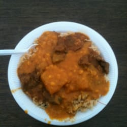 Lamb curry, rice and lentil, incl potatoes