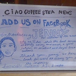 """Ciao Coffee & Tea Co - Cute idea to honor a customer of the week, despite the use the """"F"""" word (instead of the """"Y"""" word) - Sherman Oaks, CA, Vereinigte Staaten"""