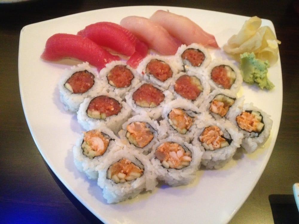 Spicy albacore roll, spicy tuna roll, tuna sushi, and ...