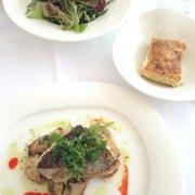 Zander fish with gratin and salad
