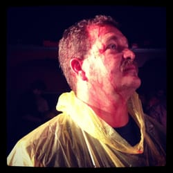 Terminator Too Judgement - Los Angeles, CA, États-Unis. Covered in fake blood even with poncho.. Lol