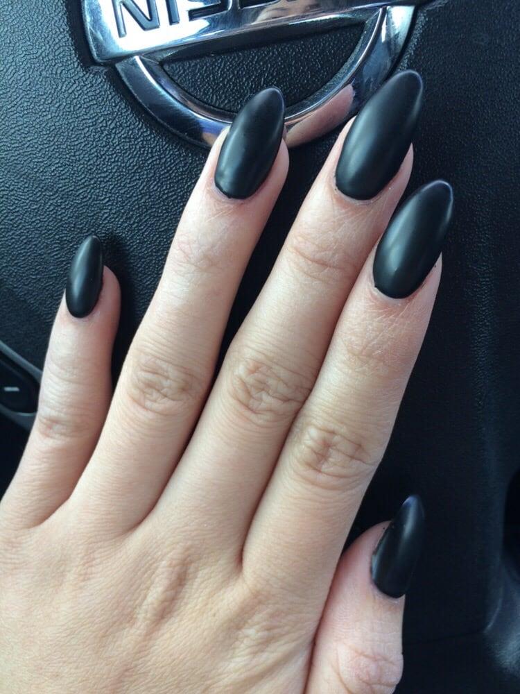 Matte Almond Matte Black Almond Nails