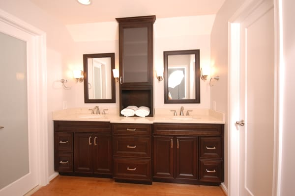 This is cherry wood vanity in a beautiful java finish with for Bathroom cabinets yelp