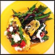 Polenta main and two veggie sides. Yum!