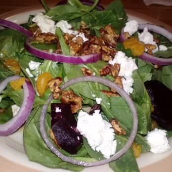Beet Spinach Salad...mandarin oranges, roasted beets, red onions ...