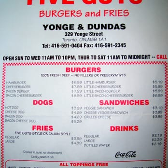 five guys burgers menu pdf