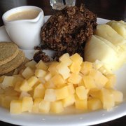Haggis, neeps (cubes-style), tatties and whisky sauce!