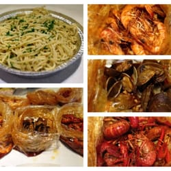 backyard bayou garlic noodles 2lbs each of shrimps clams crawfish