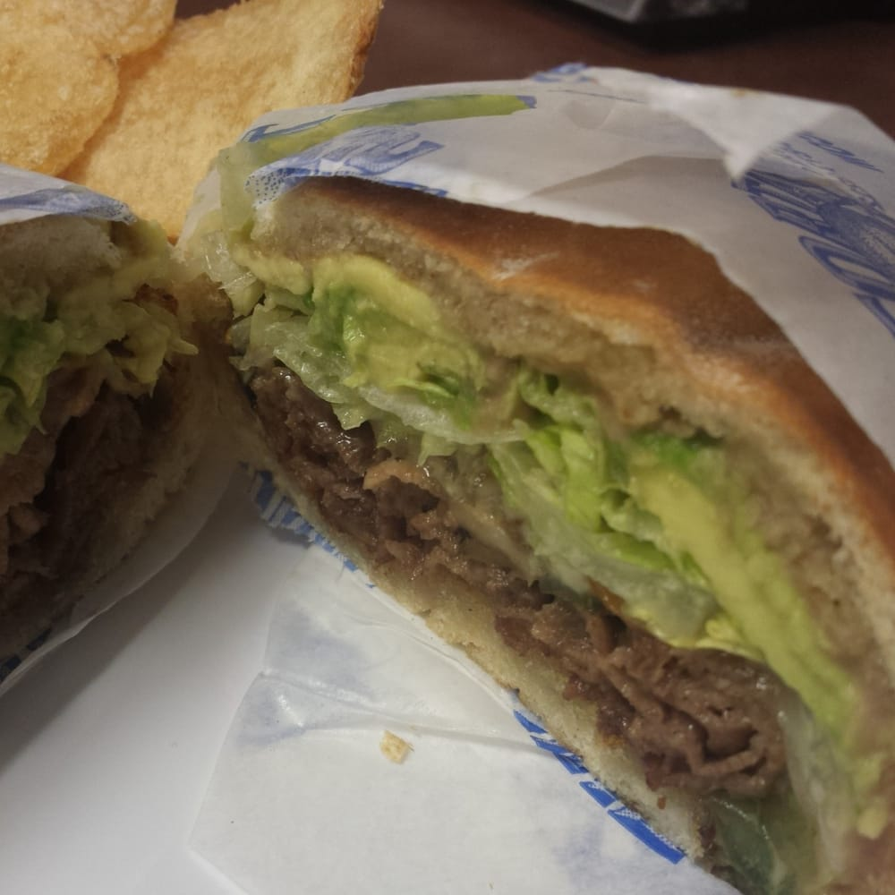... Torta Mexicana made with steak, cheese, bell pepper, onions, and