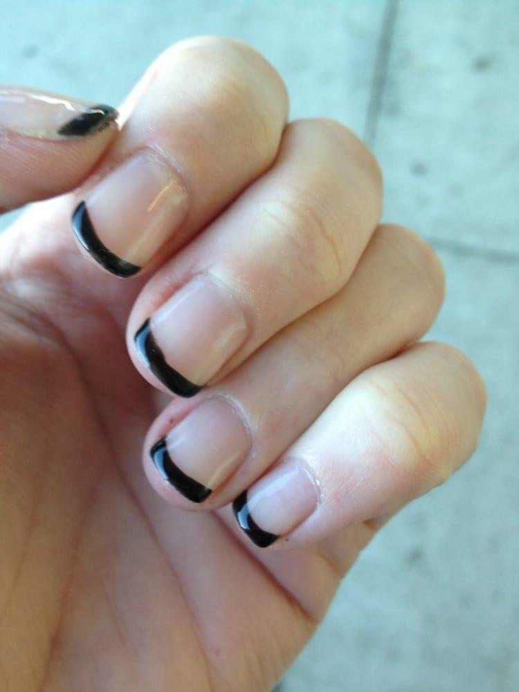 Petaluma Nails Salon - Black tip French shellac (gel) manicure