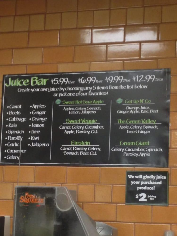 Juice bar menu yelp for Whole food juice bar menu