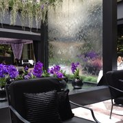 Lovely waterfall in lobby restaurant.