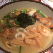 Wagamama ramen - a little bit of everything: prawns, scallops, pork, calamari, fish cake
