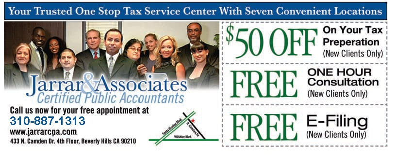 Jarrar associates cpas tax services los angeles ca for 11620 wilshire blvd 9th floor los angeles ca 90025