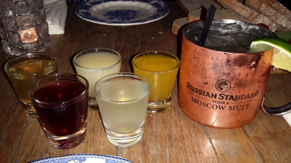 ... vodka shots with a Moscow Mule chaser. Olive, Blueberry, Honey and Oat