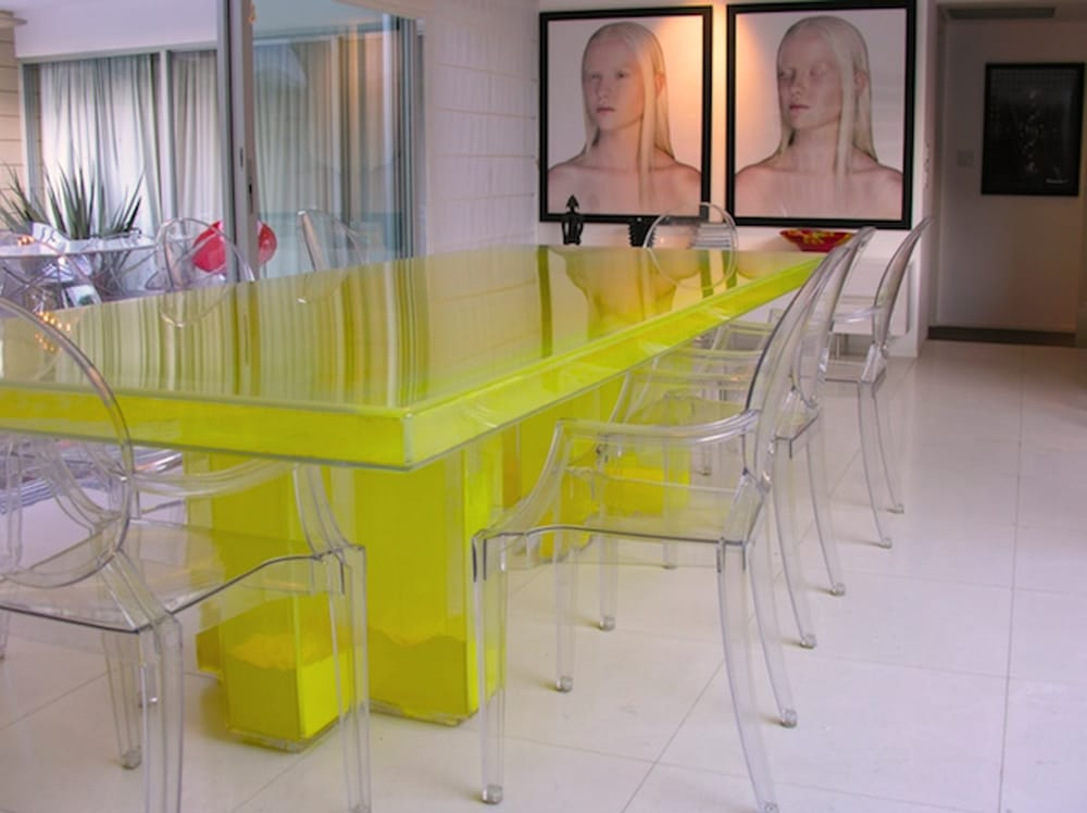 Designlush powder filled acrylic dining table yelp for Lucite kitchen table