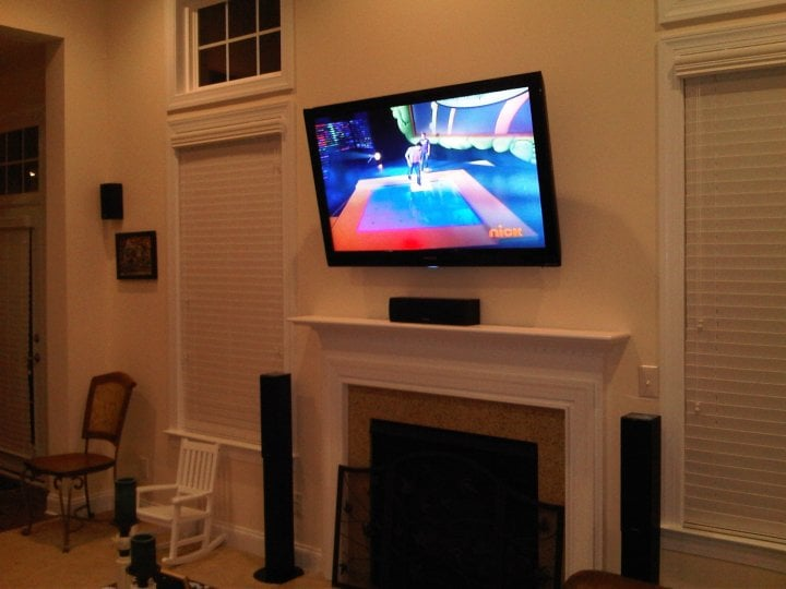 Flat Screen Tv Wall Mount Installation Over The Fireplace With 5 1 Surround Sound Speaker Wiring