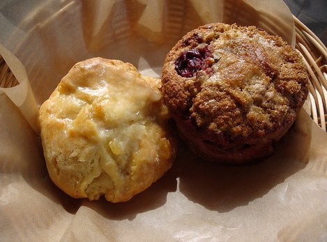 ... Boston, MA, United States. Lemon ginger scone and Cherry oat muffin