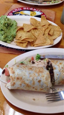 Steak burrito and chips & guac - sooo good