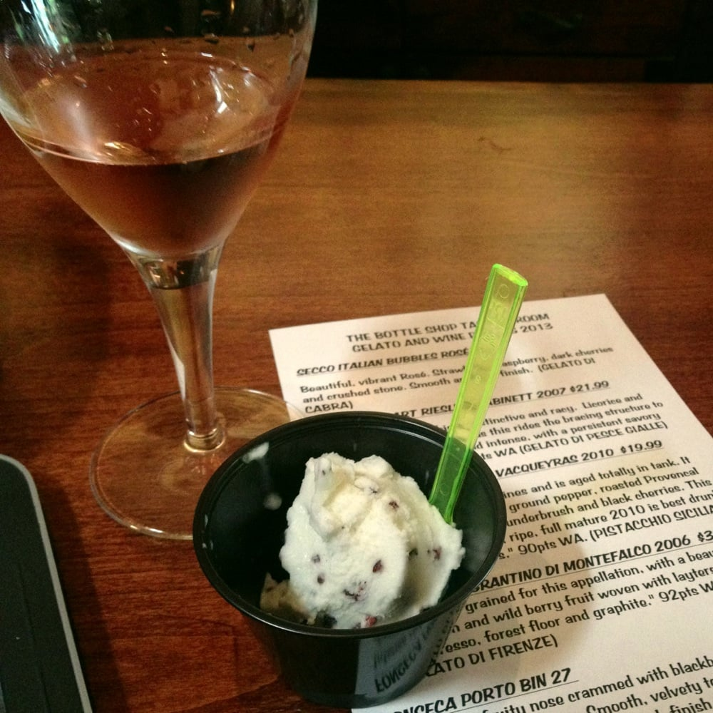 ... . Secco rosè paired with a tangy goats milk and cacao nib gelato