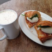 Egg on croissant was yummy with chai latte