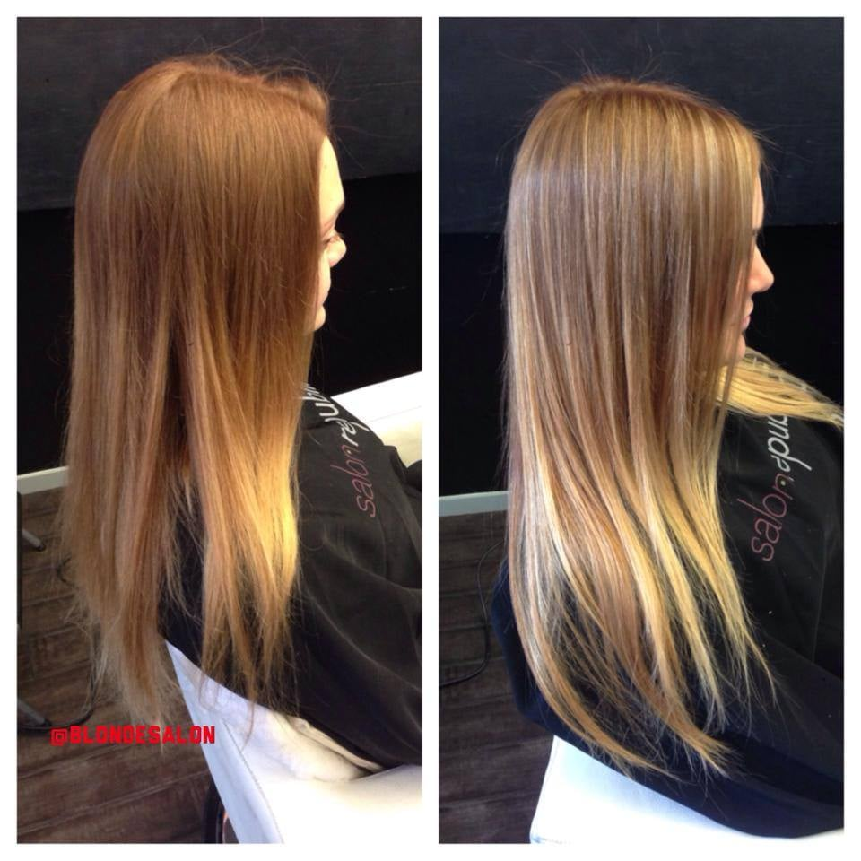 Highlights in brown hair before and after