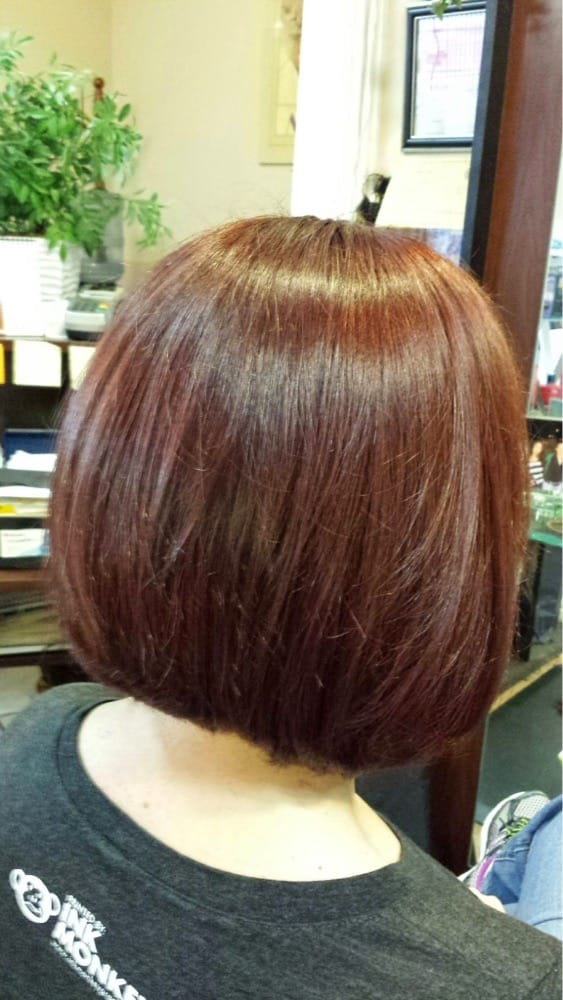 Roxy red color with a long layered a line bob one of the for Abba salon davis
