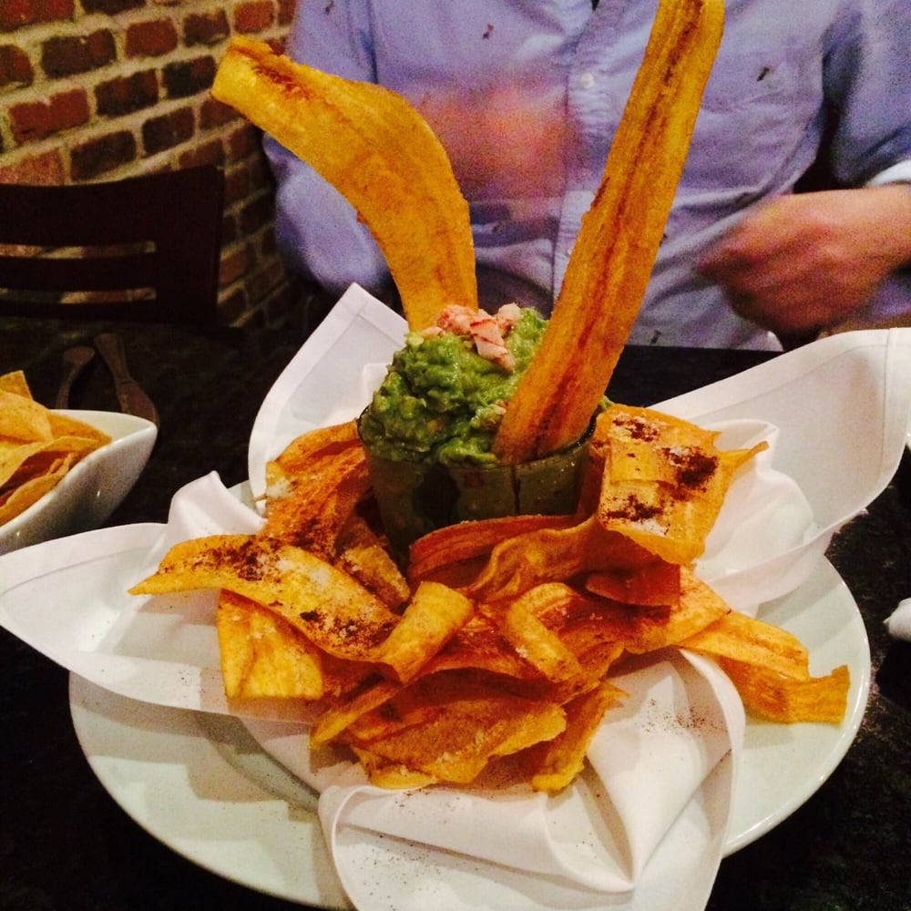 Lobster guacamole with fried plantains. The plantains were great and ...