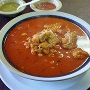Fiesta's Mexican Grill - Chino, CA, États-Unis. Pork pozole. Definitely hits the spot.