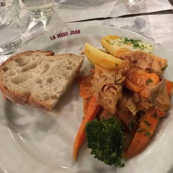 La Mère Jean - Lyon, France. Tripe with potato, carrot and broccoli in a tomato sauce.