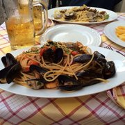 Seafood spaghetti. (Spaghelli with mixed fish sauce).