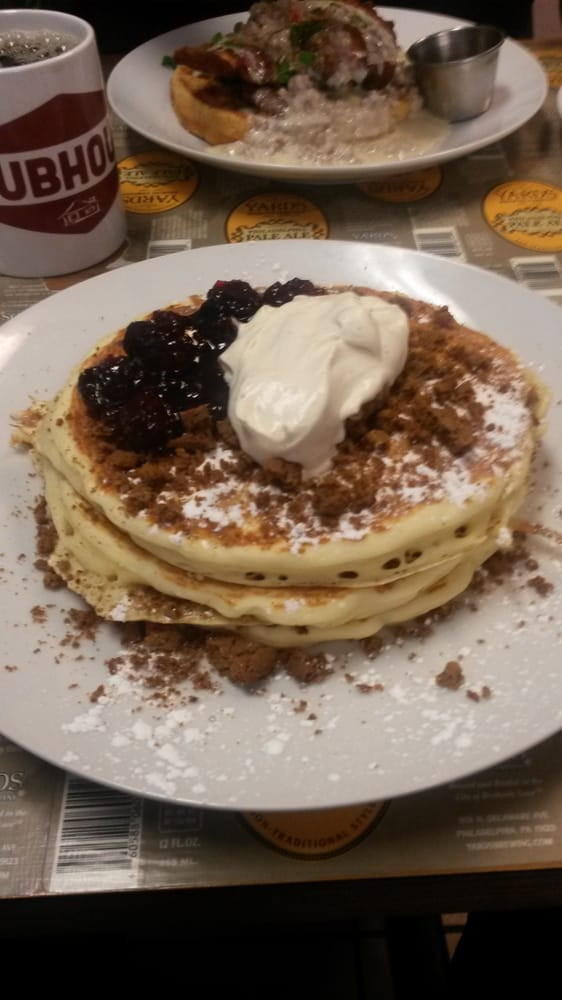 Pancakes with cranberry port jam, ginger snaps, and egg nog whip cream ...