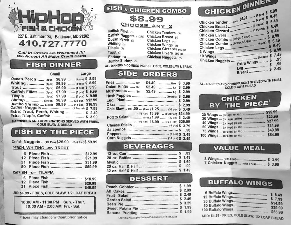 Menu yelp for Hiphop fish chicken baltimore md