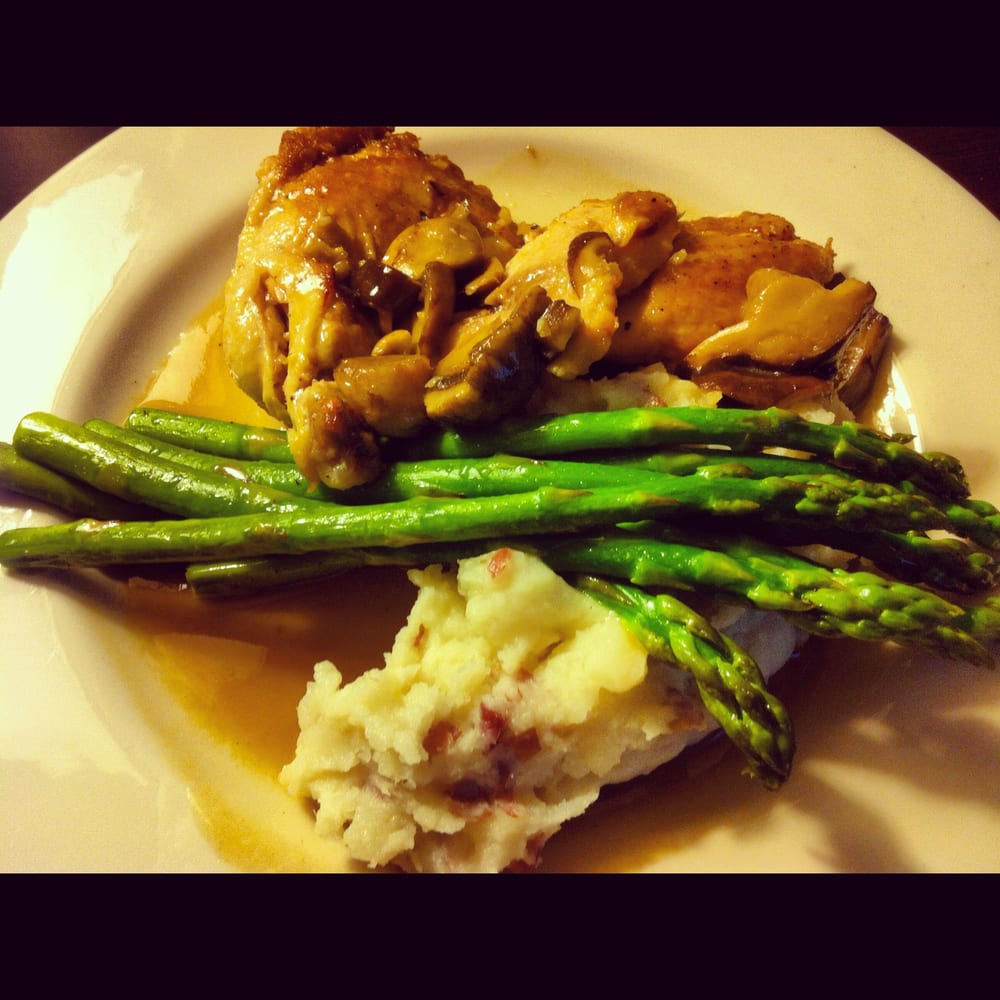 ... Roasted Chicken - mushroom wine sauce, asparagus, and mashed potatoes