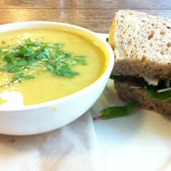 Soup and half sandwich yum
